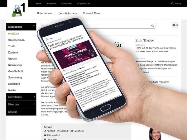 A1 entscheidet sich für die Newsroom Technologie von PResstige