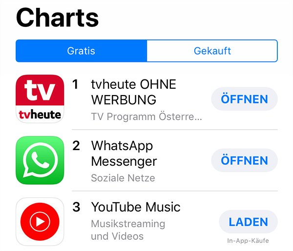 Top 3 der iTunes AppCharts am 09.11.2018